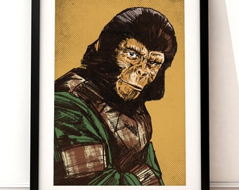 Planet of the Apes poster print, Planet of the Apes print, film poster print, typographic print, Planet of the Apes, film poster print