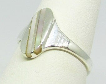 Sterling Silver and Mother of Pearl ring.