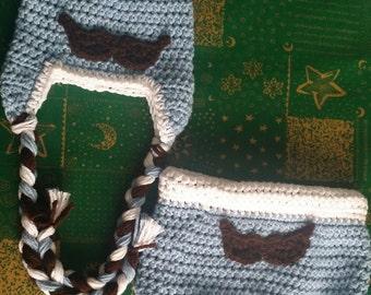 Mustache Ear Flap & Diaper Cover Set