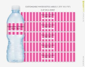 Victorias Secret Themed Pink Stripes Water Bottle Wrapper Labels / Customized DIY Printable
