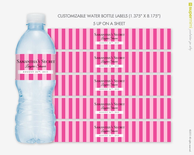 Victorias Secret Themed Pink Stripes Water Bottle Wrapper Labels    Customized DIY Printable. Victoria secret   Etsy