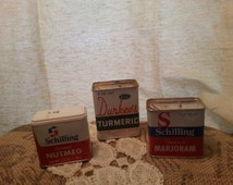 Popular items for vintage spice tins on etsy for Retro kitchen set of 6 spice tins