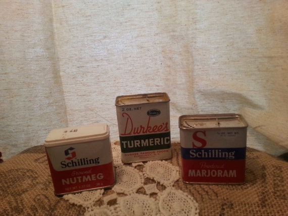 Items similar to sale price vintage spice tins set of 3 for Retro kitchen set of 6 spice tins