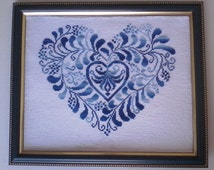 Blue Heart Cross Stitch - Gift Wedding Heart - Gift Gay Marriage -Gift Gay Wedding-Love Cross Stitch-Valentine's day Cross Stitch-embroidery