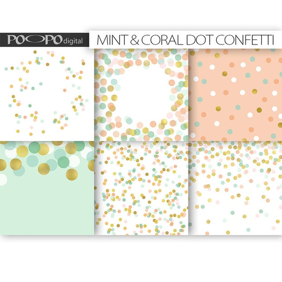 Coral Mint Gold Scrapbook Paper Digital Pattern Dot Wedding