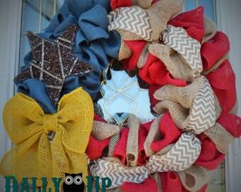 Burlap Wreath - 4th of July - White Chevron, Red, Natural and Blue Burlap - PatrioFourth of July - Burlap Wreath Decor - Door Wreath -