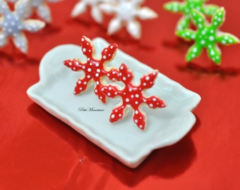 Red Snowflake Christmas Cookie Earrings
