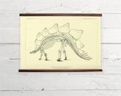 Vintage Dinosaur Stegosaur Skeleton Natural History Canvas Poster Print Wooden Wall Chart