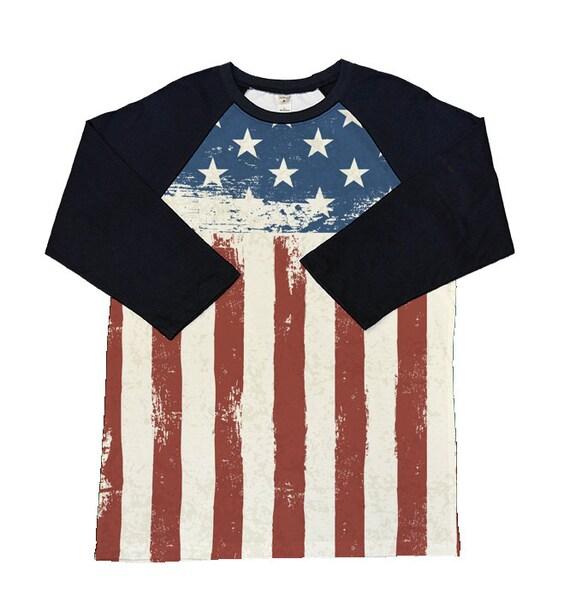 American Flag Shirt 3 4 Sleeve Raglan Shirt Choose Our Design
