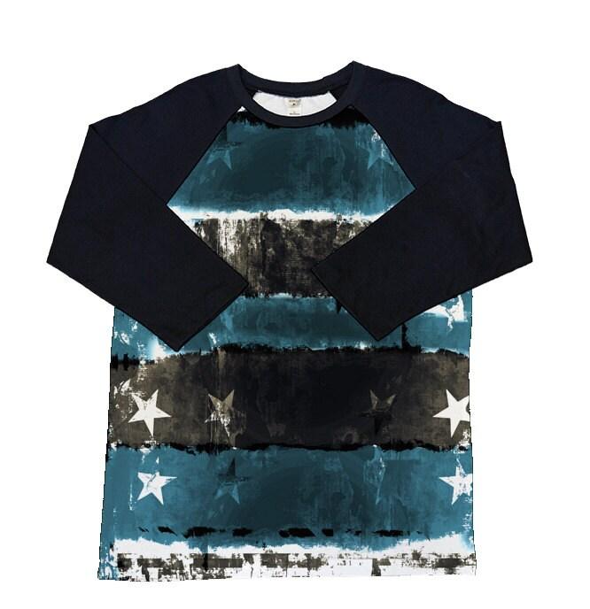 Stars And Stripes 3 4 Sleeve Raglan Shirt Choose Our Design Or