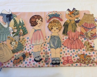 Fabric 'Paper' doll play set - butterfly fabric case
