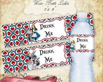 "Alice in Wonderland Water Bottle Labels, 2""x 8"" Wonderland Labels, Alice Party Water Bottle Labels, INSTANT DOWNLOAD"