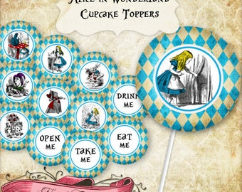 Alice in Wonderland Cupcake toppers, Alice Printable Party Decorations, Wonderland Digital Labels, INSTANT DOWNLOAD!