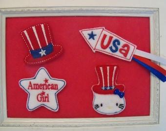 Patriotic Feltie , Kitty , American Girl, Uncle Sam Hat, USA Rocket