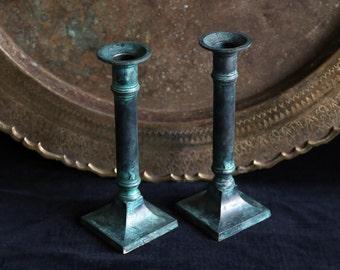 Vintage green & black patina brass candlesticks