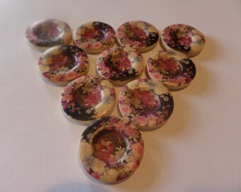 wooden buttons, printed design, flower pattern, four holes, pink flowers, one inch across, 25 mm across, pack of 10, plain cream back