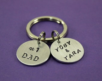 Personalized Dad Gift - #1 Dad Keychain Father's Day - Keychain for dad - Husband gift - Father present - Engraved Keychain