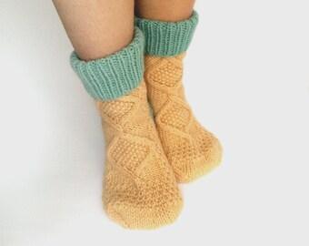 Handknit socks for women, warm indoor socks, Wool Socks, Knitted Socks, beige socks, mint socks,  ladies socks, cozy socks