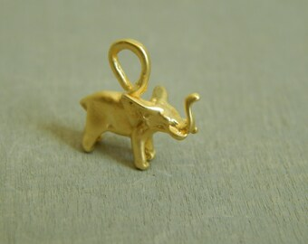 Gold vermeil elephant charm, good luck charm, animal charm, jewelry finding, findings, jewelry supplies