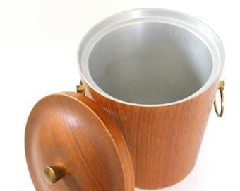 Mid Century Wood Ice Bucket