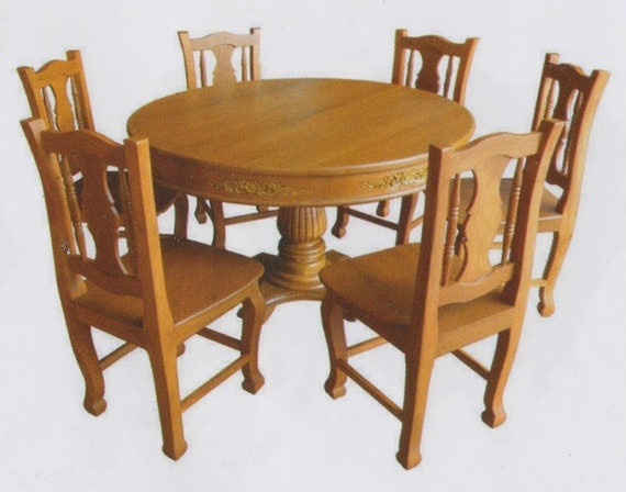 Teak wood round table dining set II : il570xN7592852574v49 from www.etsy.com size 570 x 448 jpeg 55kB