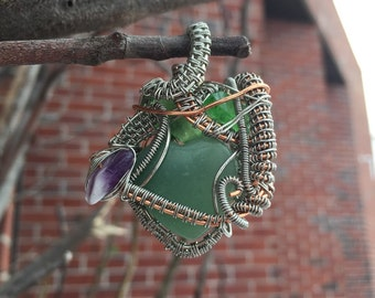 Heady Wire Wrapped Green Jade Heart, Amethyst and Green Sea Glass Pendant