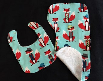 Fox Baby Gift Set Bib, Burp Cloth Teal, red