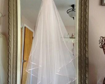 Fingertip Length Bridal Veil With Ribbon Edge