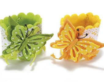 Felt Napkin Rings with Butterfly set of 4