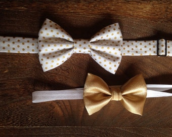Sibling Set Gold and White Bow Tie/Headband