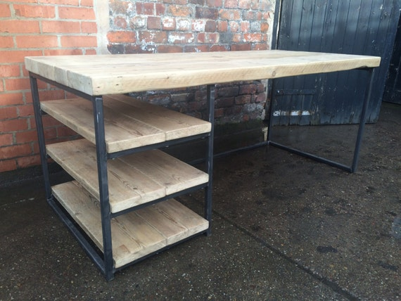 Reclaimed Industrial Chic Wood Metal Desk Dining Table with
