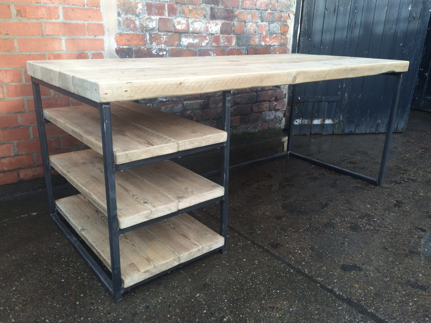 Reclaimed industrial chic wood metal desk dining table with for Table exterieur rallonge aluminium