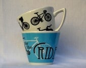 Set of 2 Cappuccino-sized Cups: Iconic Bikes and Here for the Ride