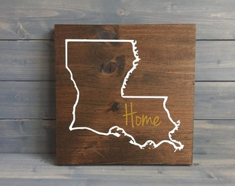 Pick Colors, Louisiana Wood Sign, Custom Lousiana State Sign, Stained Hand Painted, Personalize, Louisiana decor, Louisiana art