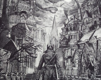 Bloodborne Ink Drawing Digital print of original