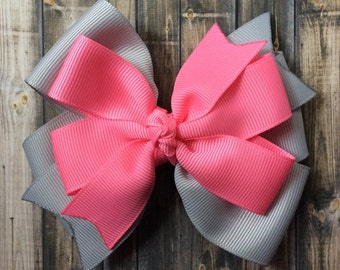 Gray and Pink Hairbow