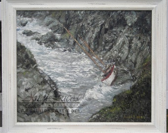 Seascape painting shipwreck oil painting Oil boat painting Oil seascape Framed oil painting  Original impressionist painting