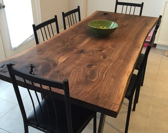 "Live Edge Black Walnut dining table with 1x3"" trapezoid legs - Live edge designs by Plank To Table"