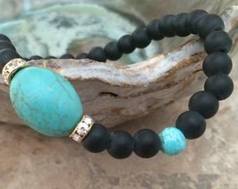 Black Turquoise Stretch Bracelet, Turquoise Bracelet, Black Bracelet, Black Turquoise Bracelet