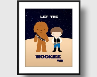 """STAR WARS - Chewbacca and Han Solo - Nursery and Child's Room Print - """"Planet Series"""" Wall Art Print"""