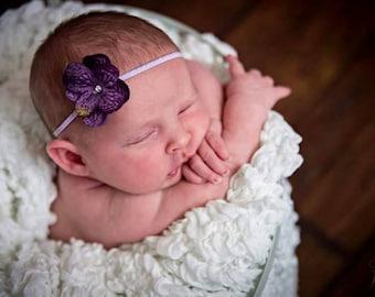 Purple Hydrangea Baby Headband, Infant Hydrangea Headband, Toddler Hydrangea Headband, Baby Headband, Adult Headband