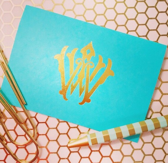 Personalized stationery, Foil stamped notecards, monogrammed stationery set, vintage monogram, monogrammed notecard set, gold foil cards