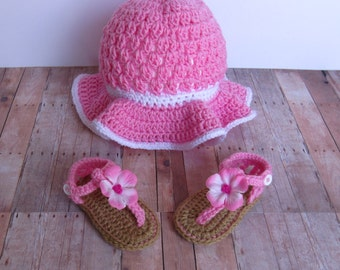 Crochet sunhat and sandals, floppy sunhat, pink flower sandals, summer hat and sandals, wide brim hat, baby shoes, baby hat, Flower sandals