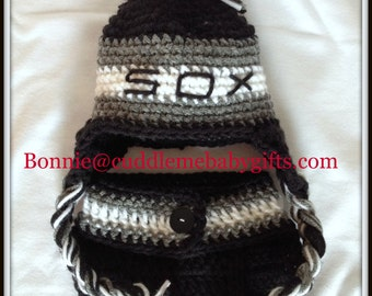 Baby Shower Chicago Baseball Baby Sox Crochet Hat and Diaper Cover