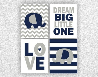Navy blue and Grey Elephant, Love, Dream Big Little One, Chevron, Baby Boy Room Playroom Wall Art Set of 4, 8x10, Elephant INSTANT DOWNLOAD