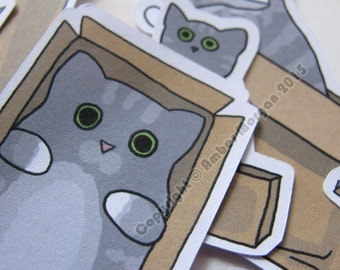 Cute Cats Stickers Cats in Boxes Paper Stickers Journaling Sticker Flakes Grey Cats Fluffy Cat Funny Humor Silly Stationery Scrapbooking
