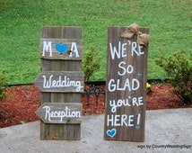 We're So Glad You're Here Sign, Wedding Reception Signs, Package Deal, Rustic Wedding Sign, Welcome to, Burlap Bow, SELF STANDING SIGNS
