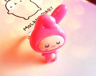 Kawaii pink bunny ring