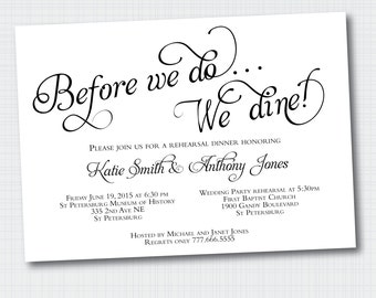 Rehearsal Dinner Invitation | Before We Do We Dine {Digital File}