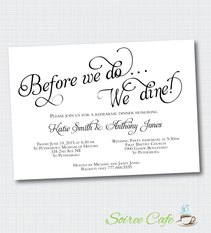 Pre Wedding Dinner Invitation: Rehearsal Dinner Invitation Before We Do We Dine Digital